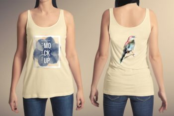 Sleeveless Women T-shirt PSD Mockup Available with Ultimate Trendy Look