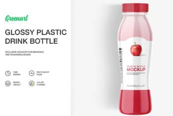 Plastic Made Juice Bottle PSD Mockup Available With User-friendly Features