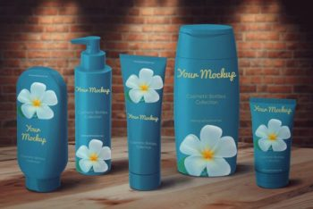 A Complete Set Of Cosmetic Bottles PSD Mockup