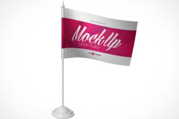 Free Desk Flag Design Mockup in PSD