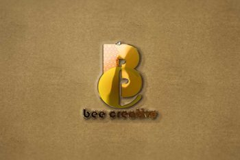 3D Gold Logo Mockup