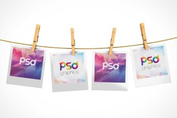 Free Hanging Polaroid Pictures Mockup in PSD