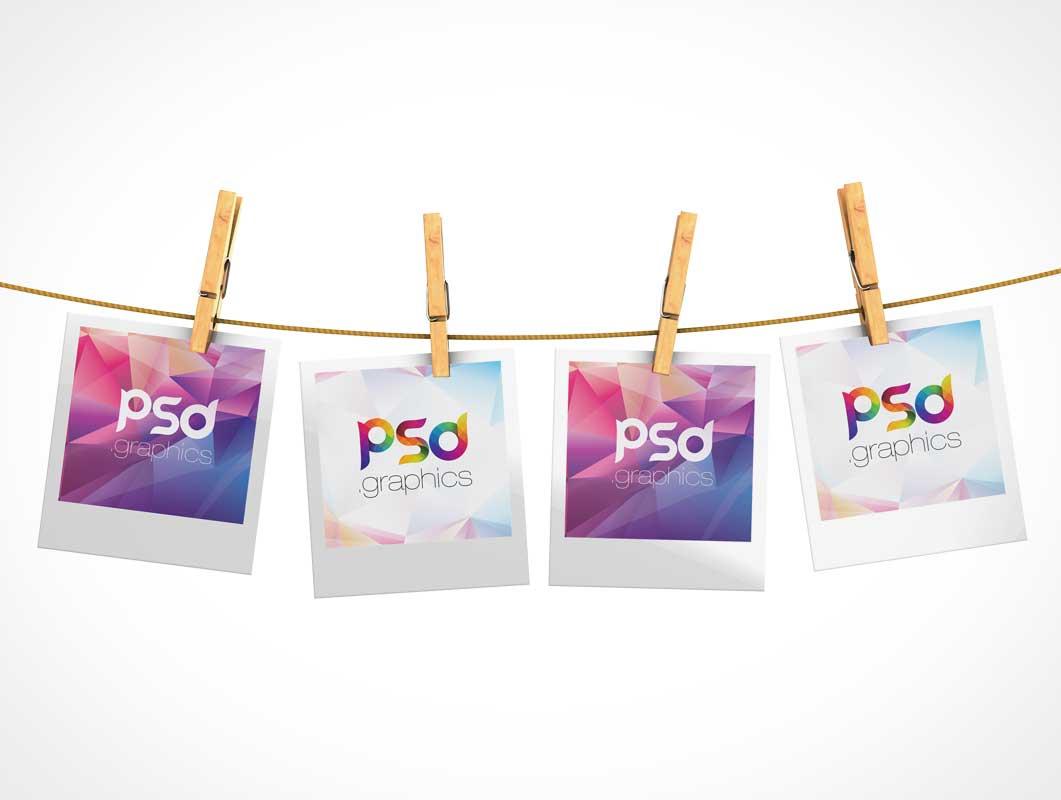 Hanging Polaroid Pictures