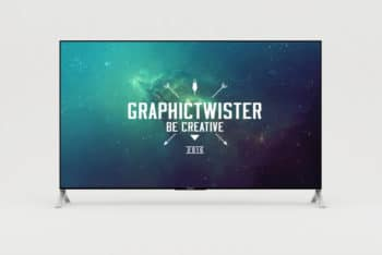 Free Customizable Huge 4K TV Mockup in PSD
