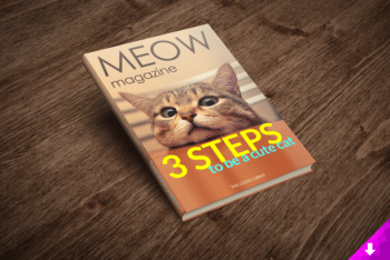Cat Magazine PSD Mockup Available With Useful Features