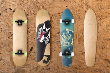Free Multiple Skateboard Designs Mockup