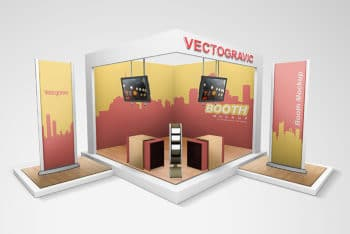 Free Technical Display Booth Mockup