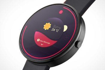 Free Round Minimalist Smartwatch Mockup