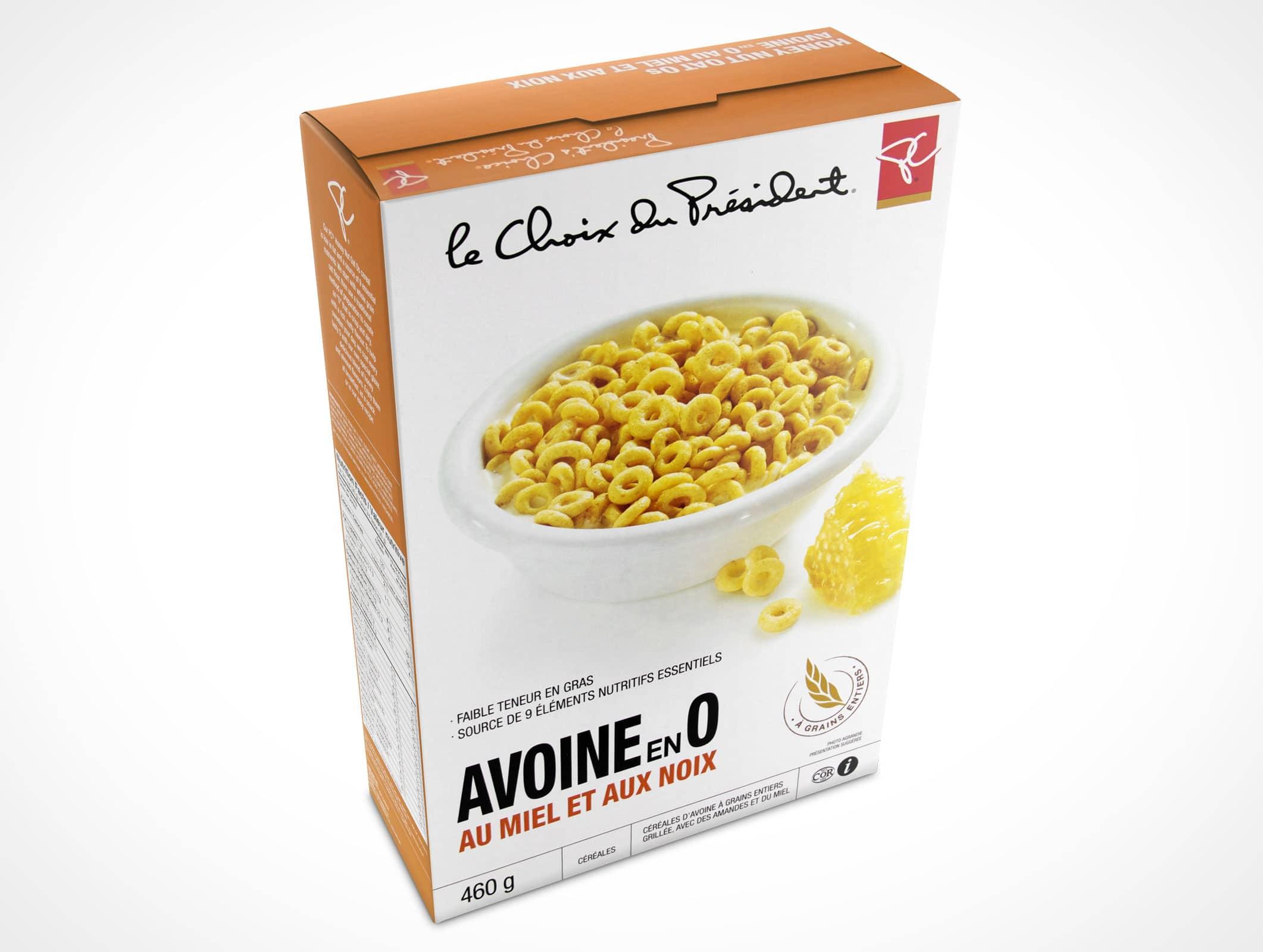 free cereal box design mockup in psd