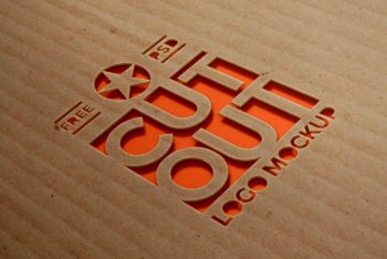 Cardboard Cutout Logo Mockup Freebie