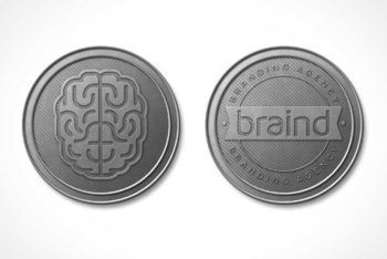 Free Realistic Detailed Coin Mockup in PSD