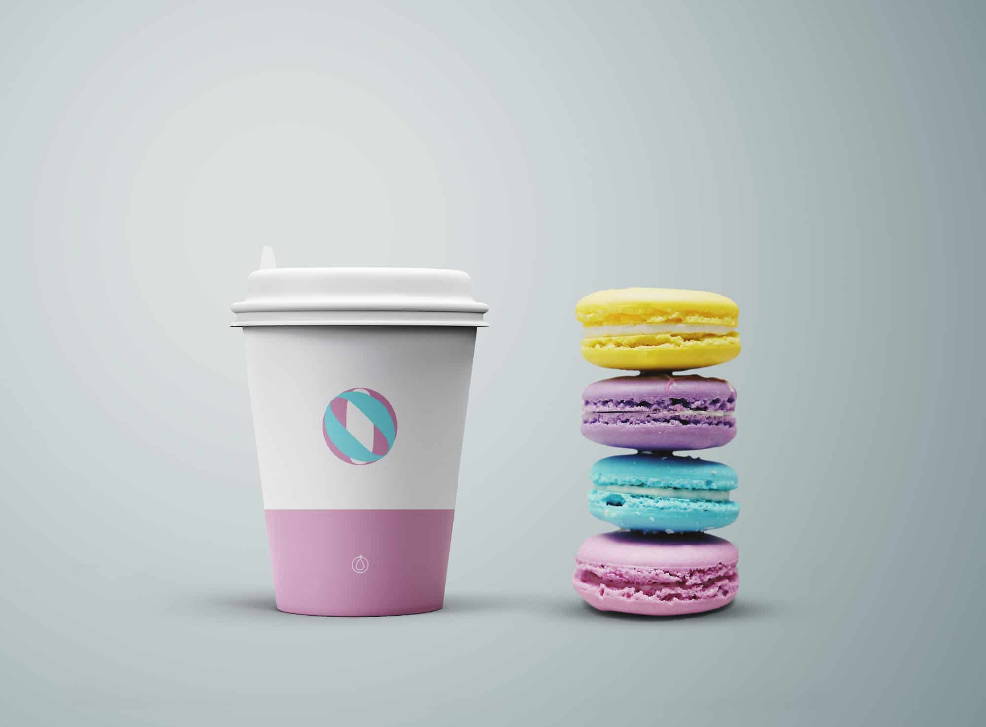 coffee cup with cookies psd mockup design