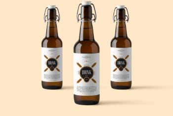 Free Glass Swing Bottle Mockup in PSD