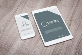 Free Tablet Plus Smartphone Mockup in PSD