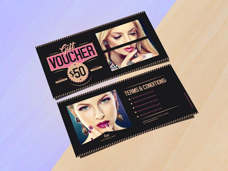 free fashion gift voucher mockup in psd designhooks