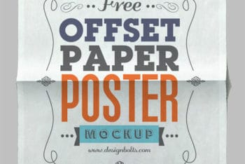 Horizontally Placed Paper Poster PSD Mockup