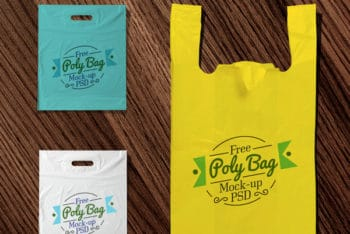 Colorful Polythene Bag PSD Mockup