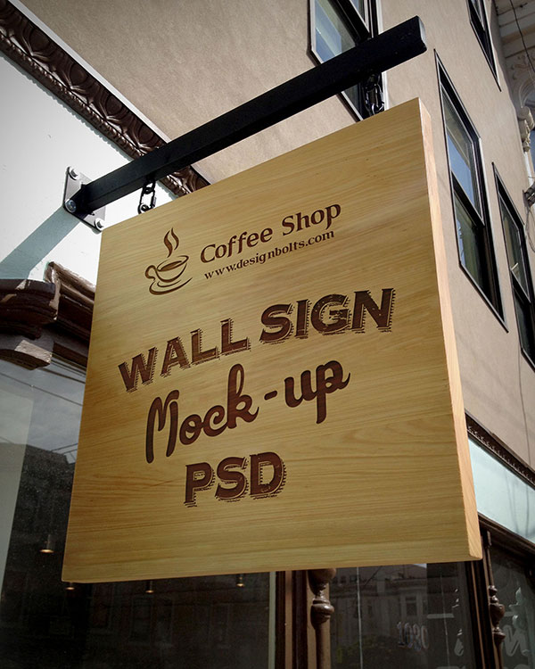 Shop Wall Sign PSD Mockup Download For Free