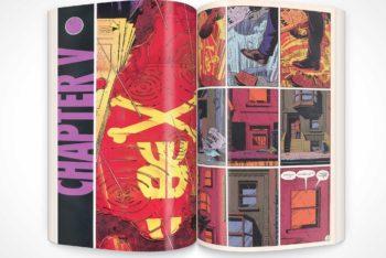 Free Graphic Novel Vertical Centerfold Mockup