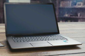 Free Laptop Plus Wood Floor Mockup