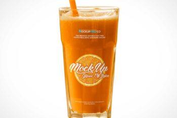 Free Juice Glass Plus Straw Mockup