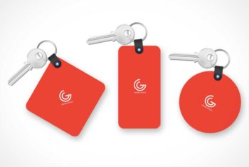 Free Customizable Key Tag Mockup in PSD