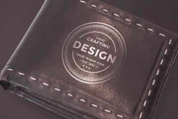 Free Leather Wallet Mockup in PSD