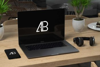Dark MacBook Pro Workspace Mockup Freebie