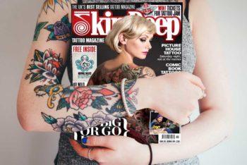 Free Magazine Plus Tattooed Woman Mockup