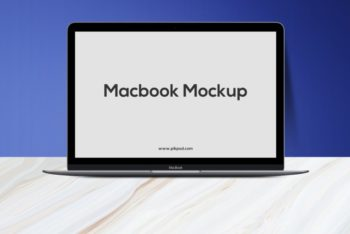 MacBook PSD Mockup with Easy to Customize Features