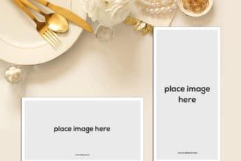 Place Card PSD Mockup Scene For Photorealistic Presentation
