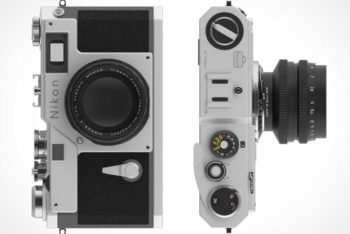 Free Old Nikon Camera Mockup in PSD