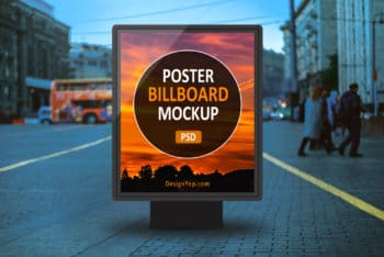 Free Outdoor Poster Billboard Mockup in PSD