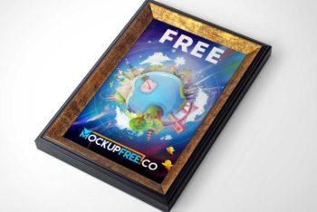 Free Golden Trim Picture Frame Mockup