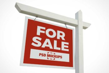 Free Real Estate Signboard Mockup in PSD