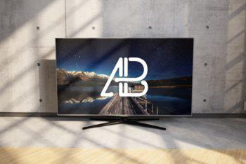 Free Realistic 4K TV Mockup in PSD