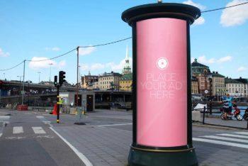 Free Round Street Billboard Mockup
