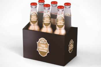 Free Six Pack Beer Case Mockup in PSD
