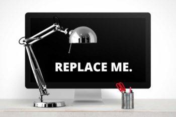 Free iMac Plus Desk Lamp Mockup