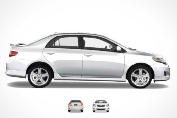 Free Toyota Corolla Sedan Car Mockup in PSD