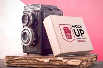 Free Vintage Camera Plus Box Mockup