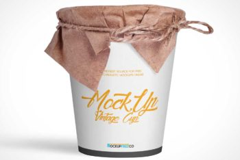 Free Vintage Noodle Cup Mockup in PSD