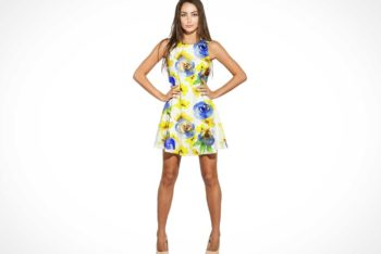 Free Customizable Girl Plus Mini Dress Mockup