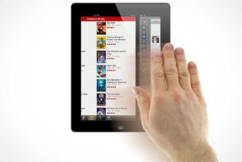 Free Tablet Hand Gestures Mockup in PSD