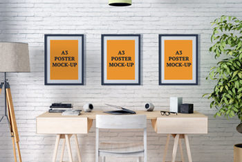 Free A3 Posters Mockup in PSD