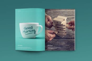 A4 Sized Magazine PSD Mockup With Customizable Features