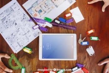 Free Architect Desk Plus Tablet Mockup