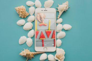 Phone Beach Concept Mockup Freebie