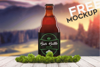 Print Ready Beer Bottle PSD Mockup