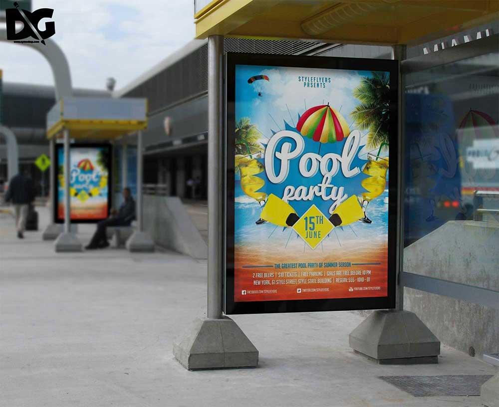 bus stand billboard mockup
